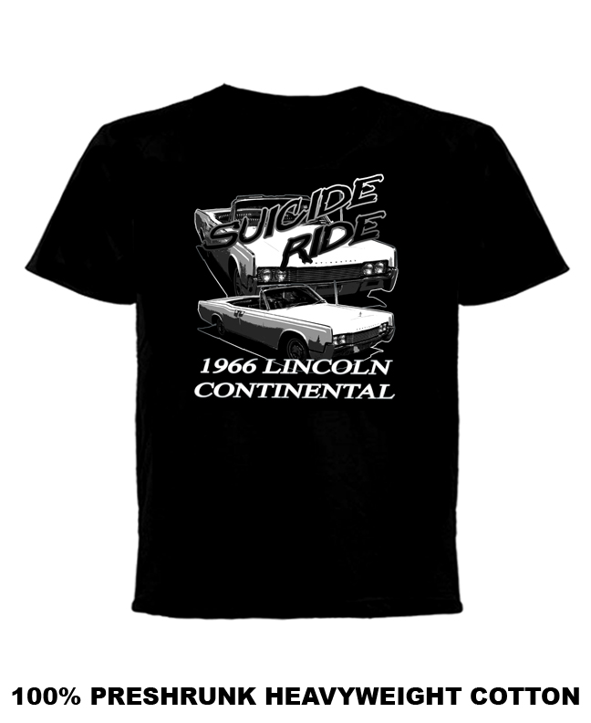 lincoln continental 1966 suicide ride t shirt. Black Bedroom Furniture Sets. Home Design Ideas